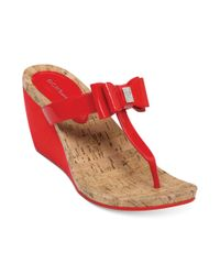BCBGeneration Red Michelle Wedge Thong Sandals