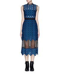 Self-Portrait | Blue Bandeau Inlay Scallop Guipure Lace Dress | Lyst