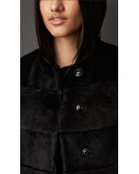 Burberry Black Shearling And Fur Striped Coat
