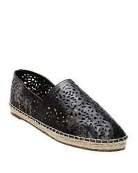 Steven by Steve Madden Black Lasir Perforated Leather Flats