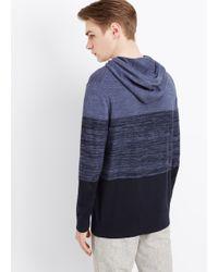 Vince Purple Sporty Jaspé Colorblocked Pullover Hoodie for men