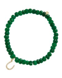 Sydney Evan - Green Horseshoe Emerald Bead Bracelet with Pav Diamonds - Lyst
