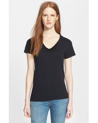 Burberry Brit | Black Lightweight Cotton V-neck Tee | Lyst