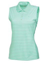 PUMA | Green Stripe Sleeveless Polo | Lyst