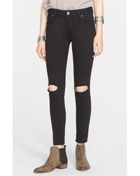 Free People | Black Destroyed Jeans | Lyst