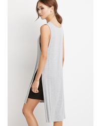 Forever 21 Gray High-slit Longline Top