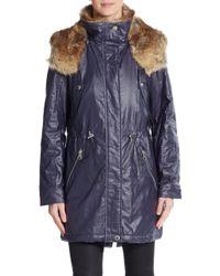 Marc New York   Blue Lauren Faux Fur-trimmed Coated Jacket   Lyst