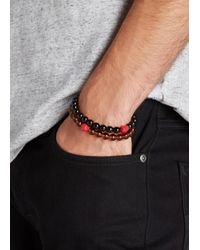 Paul Smith | Brown Beaded Skull Bracelet for Men | Lyst