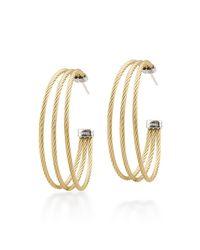 Alor | Metallic Stainless Steel Cable Three-Row Hoop Earrings | Lyst
