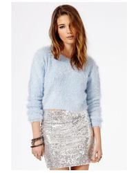 Missguided | Flafica Fluffy Cropped Jumper Blue | Lyst