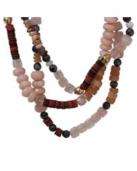 Royal Nomad Jewelry Pink Two Strand Opal, Moonstone, And Rose Quartz Bead Necklace
