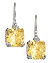 Judith Ripka - Orange Canary Crystal Cushion Earrings - Lyst