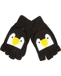 River Island Black Penguin Face Fingerless Gloves for men