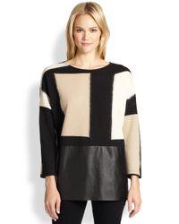 Lafayette 148 New York | Black Geometric Flocked Jersey Oversized Sweater | Lyst