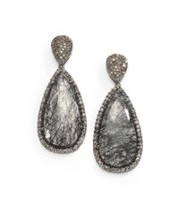 Bavna | Metallic Diamond Rutilated Quartz Sterling Silver Drop Earrings | Lyst