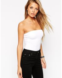 ASOS | White Bandeau Body With Thong | Lyst