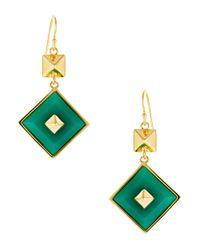 Trina Turk - Green Square Charm Drop Earrings - Lyst