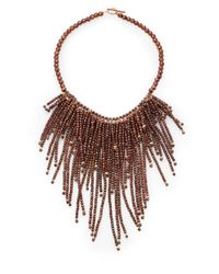 Brunello Cucinelli | Brown Beaded Fringe Necklace | Lyst