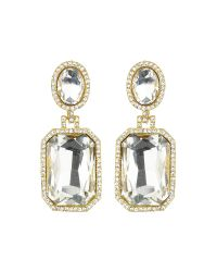 Mikey - Multicolor Rectangle Stone Marquise Drop Earring - Lyst