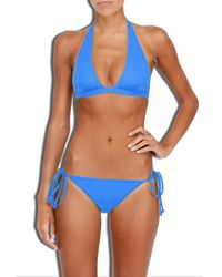 MILLY - Blue Cabana Solid Capri Halter Bikini Top - Lyst