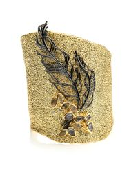 Alexis Bittar Metallic Feather Accented Cuff