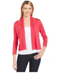 Jones New York Red Collection Petite Cropped Pointelle-trim Cardigan