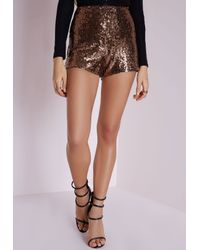 Missguided | Metallic Sequin Hotpants Gold | Lyst