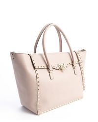Valentino - Pink Lavender Leather Studded Detail Convertible Top Handle Bag - Lyst