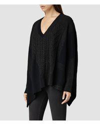AllSaints | Blue Link Draped Sweater | Lyst