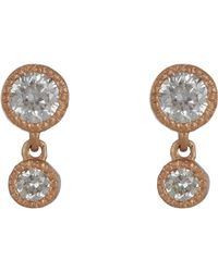 Tate - Pink Diamond Double-drop Earrings - Lyst