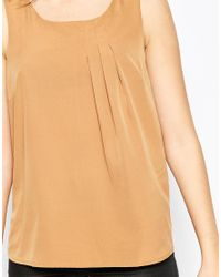 Vero Moda | Brown Sleeveless Vest With Pleat Detail | Lyst