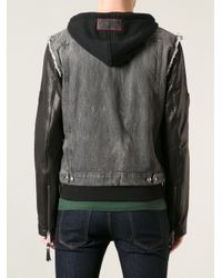 Philipp Plein Gray Denim Leather Jacket for men