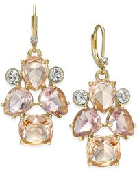 kate spade new york - Gold-tone Pink Stone Drop Earrings - Lyst