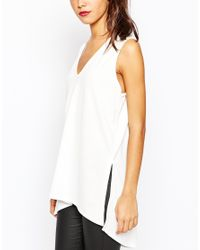 Daisy Street - Natural V Neck Tunic With Side Splits - Lyst