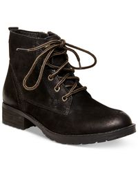 Steve Madden | Black Gobbin Lace-up Boy Booties | Lyst