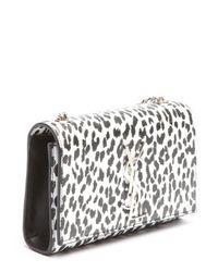 Saint Laurent - Black And White Leopard Print Leather 'Ysl' Shoulder Bag - Lyst