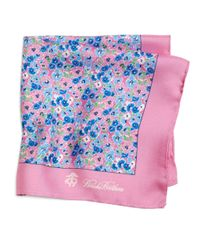 Brooks Brothers - Pink Flower Print Pocket Square - Lyst