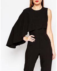 ASOS Asymmetric Cape Jumpsuit - Black