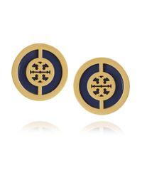 Tory Burch - Blue Deco Logo Goldplated Enamel Earrings - Lyst