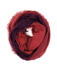 Michael Stars | Red Dip Dye Eternity Scarf With Raw Edge Fringe | Lyst