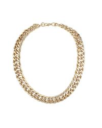 TOPSHOP - Metallic Chunky Three Row Chain Necklace - Lyst