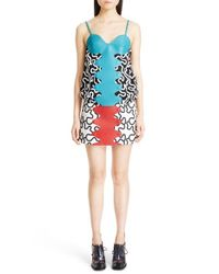 J.W.Anderson - Blue Leather Detail Print Spaghetti Strap Blouse - Lyst