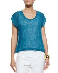 Eileen Fisher | Blue Linen Gauze Short Top | Lyst