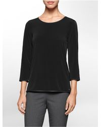 Calvin Klein - Black White Label Faux Leather Piped 3/4 Sleeve Top - Lyst