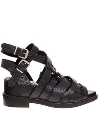 Acne Studios - Black Grained Leather Lenna Sandals - Lyst