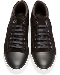 Lanvin Black Leather & Suede Mid-top Sneakers for men