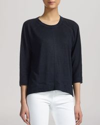 Whistles | Blue Tee - Holly Three-quarter Sleeve Linen | Lyst
