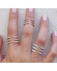 Anne Sisteron - Pink 14kt Rose Gold Diamond Triple Horn Ring - Lyst