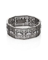 Adriana Orsini | Metallic Deco Pave Crystal Wide Line Bracelet | Lyst