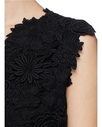 Tory Burch Black 'merida' Floral Guipure Lace Silk Dress